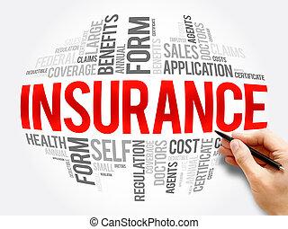 保険, 単語, 雲, コラージュ