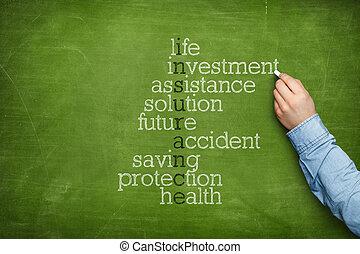 保険, 単語, 雲, 上に, 黒板