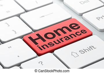 保険, 家, 背景, コンピュータ, concept:, キーボード