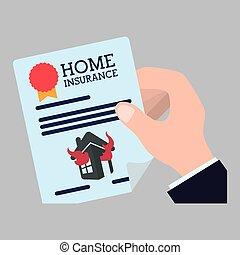 保険, 家, design., icon., 隔離された, イラスト
