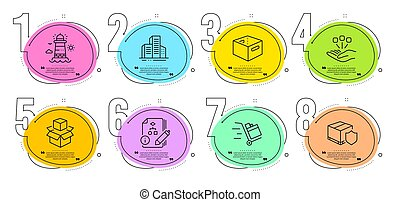 保険, 箱, 押し, 出産, オフィス, 灯台, 建物, ベクトル, アイコン, algorithm, set., signs., カート