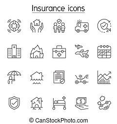 保険, 薄くなりなさい, アイコン, セット, 線, スタイル