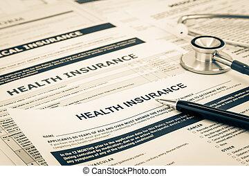 保険, concept., 健康, アンケート, 登録