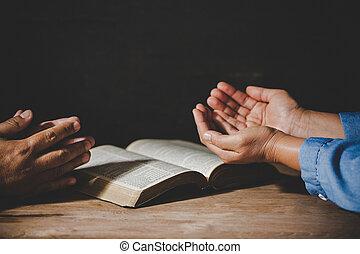 信じなさい, 人々, 保有物, グループ, 祈ること, 崇拝, 手