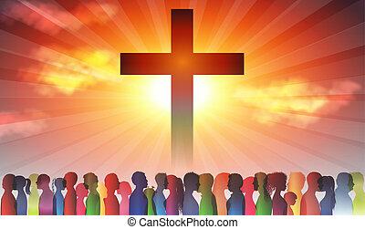 信じること, families., グループ, 群集, cross., 暗い, キリスト教徒, 人々, シルエット, 人々。, christianity., 背景, 見つけること, 教会