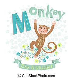 信件 m, -, 猴子