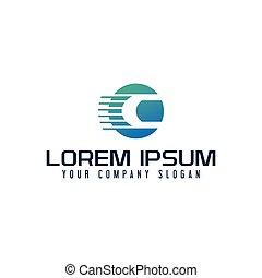 信件c, logo., 速度齋戒, 設計, 概念, 樣板