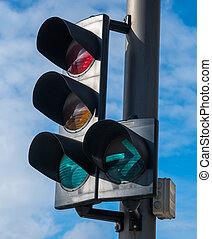 信号, ∥で∥, a, 美しい, 青い空, 中に, 背景