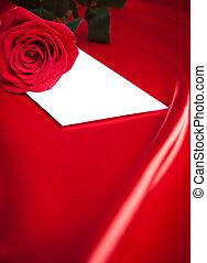 信封, 以及, 紅色的玫瑰, 在上方, 絲綢, 背景