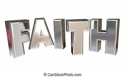信念, 神, 宗教, 信頼, 単語, イラスト, 祈とう, 3d