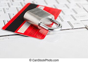 信用卡, 以及, 挂鎖, 上, keyboard.