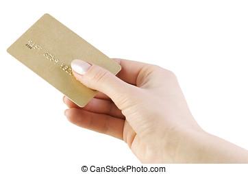 信用卡, 在, 手