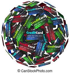 信用卡, 球, 借錢, 支付, 貸款