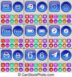 信用卡, 調色板, 箭頭權利, 自由, 電池, 齒輪, 打印机, 六, 紙, plane., a, 大, 集合, ......的, 多彩色, buttons.