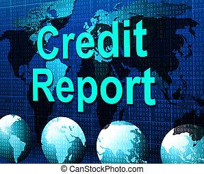 信用報告, 代表, 借方卡片, 以及, 分析