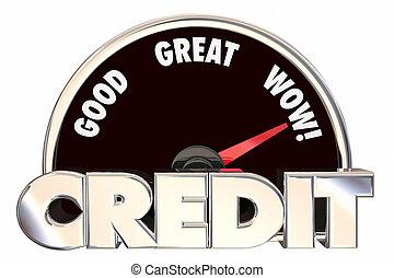 信用, 得分, 規定值, 里程計, 好, 偉大, 改進, 借用, 貸款, 銀行業務, 數字