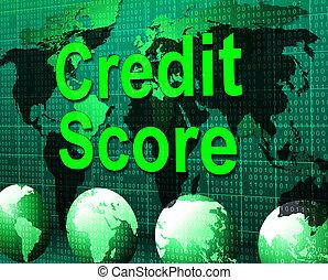 信用, 得分, 顯示, 卡片, 貸款, 以及, 欠