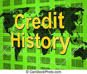 信用, 歷史, 表明, 借方卡片, 以及, 分析