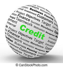 信用, 球, 定義, 顯示, 無現金, 購買, 或者, 金融, 貸款