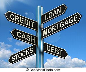 信用, 貸款, 抵押, 路標, 顯示, 借, 財政, 以及, 債務