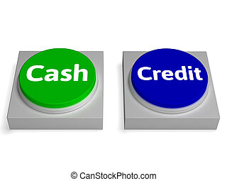 信用, 貸款, 現金, 按鈕, 貨幣, 或者, 顯示