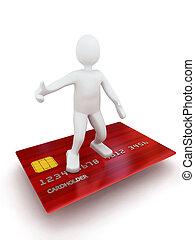 信用, 3d, 卡片, 人