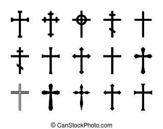 信頼, ケルト, セット, キリスト教徒, 正統, crosses., 祈とう, 隔離された, 交差点, crucifix., ベクトル, 教会, 宗教, 印, カトリック教