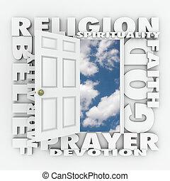 信頼, ドア, 信念, 開始, 神, 精神性, 続きなさい, 宗教, ∥あるいは∥