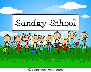 信頼, 学校, 青年, ∥示す∥, 日曜日, 子供, 旗