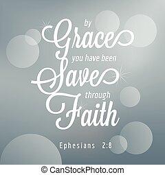 信頼, 聖書, 引用, ephesians, 活版印刷, ある, によって, 持ちなさい, あなた, 救われる, ...
