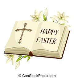 信頼, 聖書, lilies., 宗教, 挨拶, イラスト, シンボル, イースター, 概念, 幸せ, 開いた, ∥あるいは∥, card.