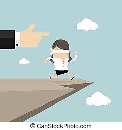 信頼, blindfolded, cliff., 女性実業家, concept., 跳躍, 歩く, 離れて