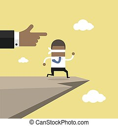 信頼, blindfolded, cliff., concept., アフリカ, 跳躍, ビジネスマン, 歩く, 離れて