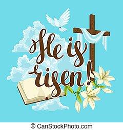 信頼, dove., シルエット, card., 木製である, 宗教, 交差点, イラスト, 挨拶, シンボル, 概念, に対して, 聖書, 雲, 幸せ, ユリ, ∥あるいは∥, イースター