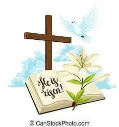 信頼, dove., 雲, card., 木製である, イースターユリ, 交差点, イラスト, 挨拶, シンボル, 概念, に対して, 聖書, 宗教, ∥あるいは∥, 幸せ