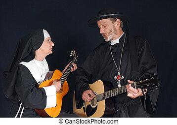 修女, 以及, 牧師, 唱