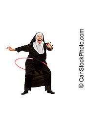 修女, 玩, 由于, 塑料箍