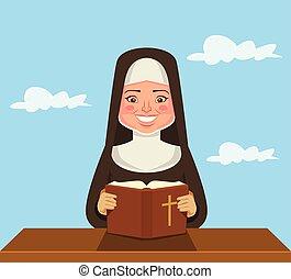 修女, 閱讀, the, 聖經