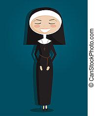 修女, retro, 卡通
