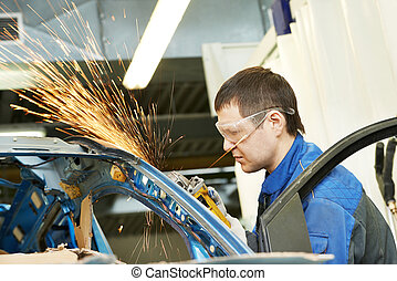 修理人, こする, 金属, 体, 自動車