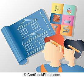 修理人, 妇女, 改造, 家, 蓝图, 工具