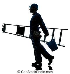 修理人, 工人, 梯子, 步行, 黑色半面畫像