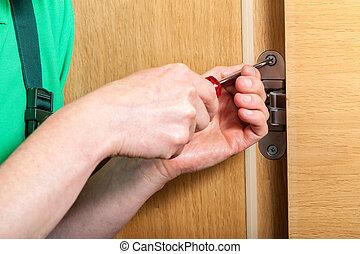 修理, ちょうつがい, ドア, 手