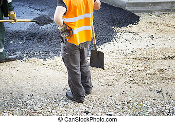 修理, アスファルト, ペーバー, 労働者, 機械, 建設, 作動, の間, 仕事, 道