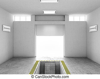 修理, イラスト, ガレージ, pit., 内部, 開いた, 空, 3d