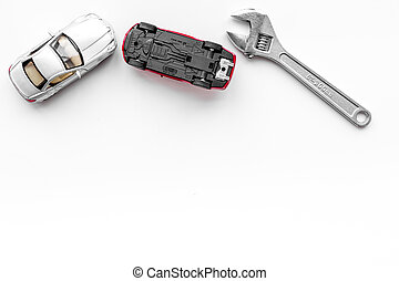 修理, コピースペース, 自動車, concept., レンチ, 背景, おもちゃ, 白いトップ, 光景