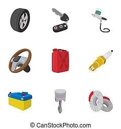 修理, スタイル, 漫画, セット, 自動車, アイコン
