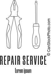 修理, スタイル, illustration., サービス, アイコン, 現代, ねじ回し, ベクトル, pliers., きれいにしなさい, 線, logo.