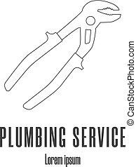 修理, スタイル, illustration., サービス, 現代, 水, ベクトル, pliers., きれいにしなさい, 配管, 線, logo., ∥あるいは∥, cimping, アイコン