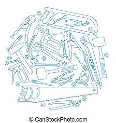 修理, セット, アイコン, 形, 背景, 円, 道具